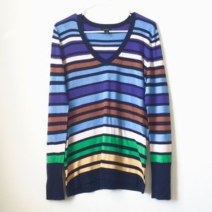 Halogen Striped V Neck Lightweight Sweater